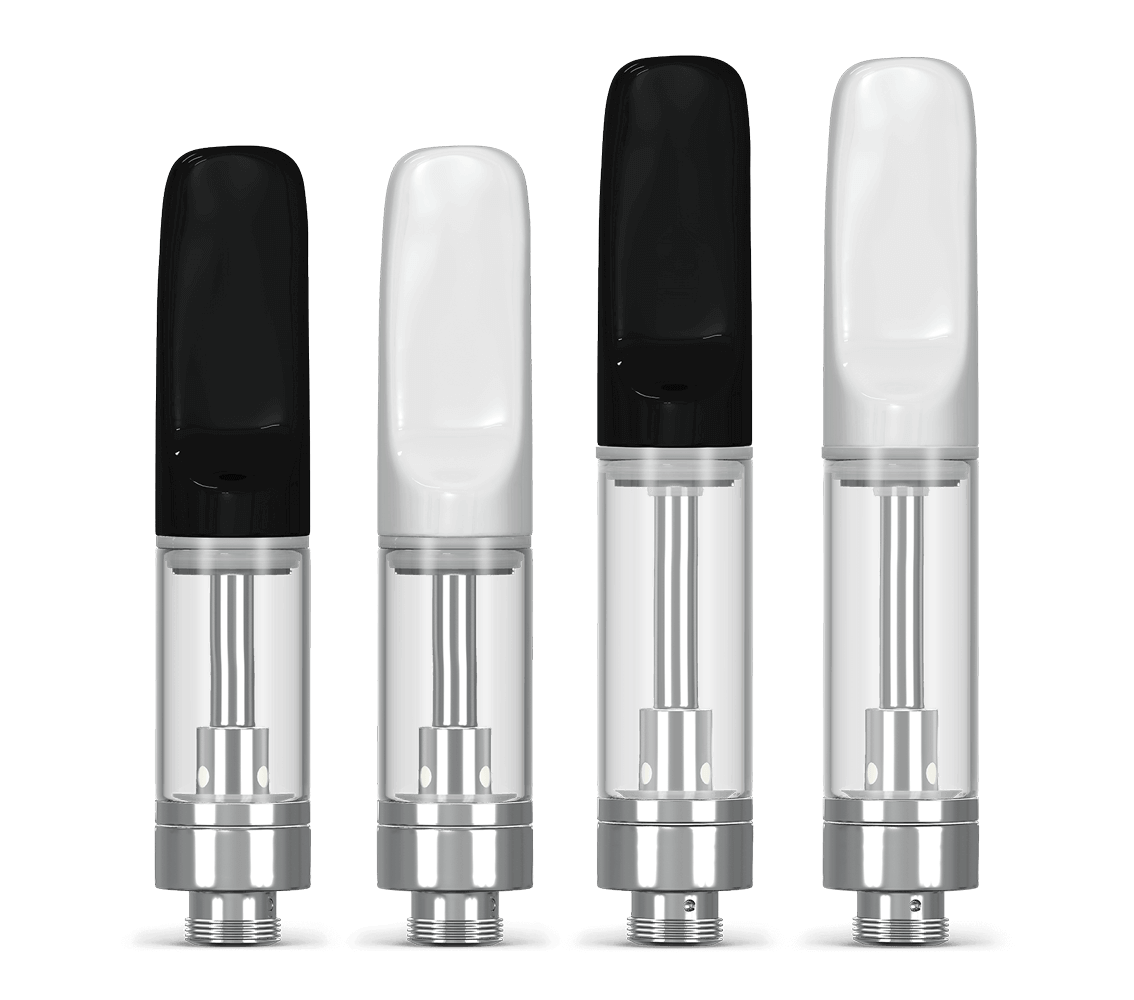 Glass tank bulk vape cartridges for oils with black and white tips by Verified Vapes